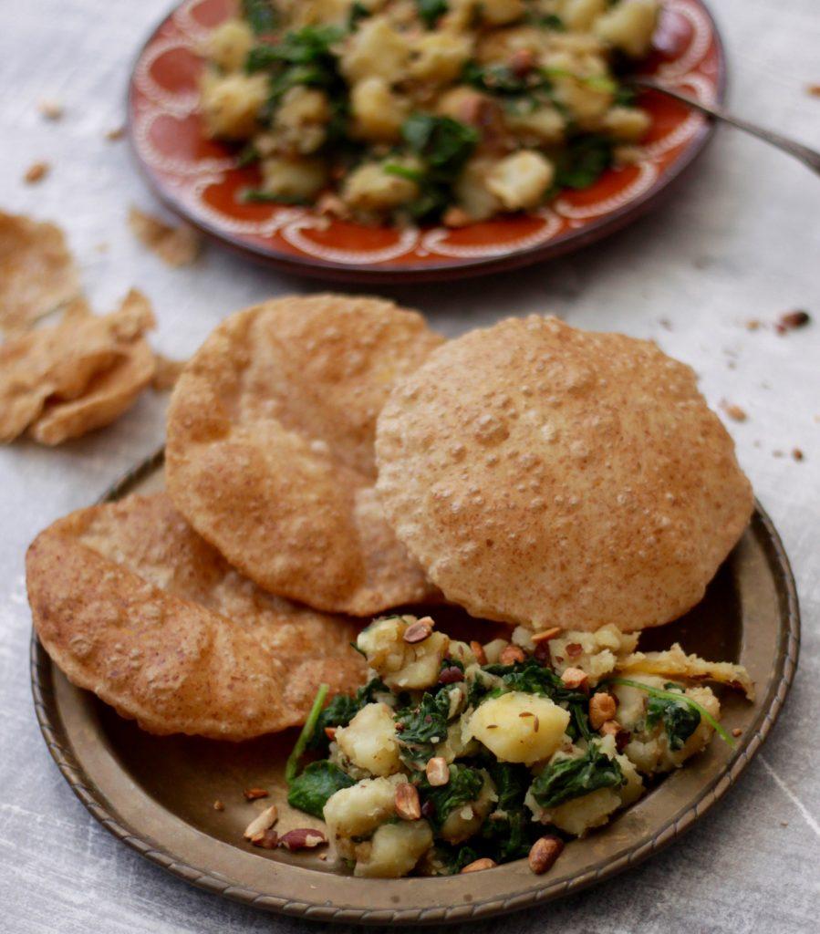 Potato-and-spinach-sabji-with-puffed-puri