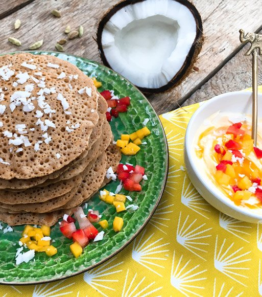 Sweet-Coconut-Pancakes-with-a-Mango-Sauce
