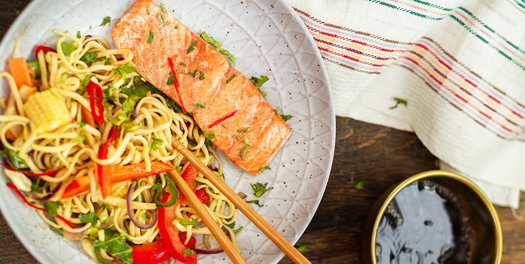 Salmon with ginger and soy